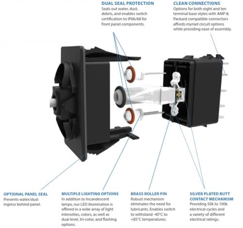 Carling Contura V Schalter mit 2 LED 12V 20A