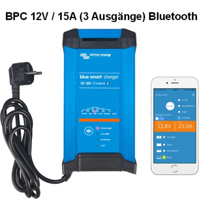 Victron Blue Smart IP22 Charger 12/15(3) Schuko