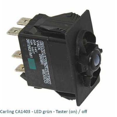 Carling CA1403 LED grün - Taster (on)/off