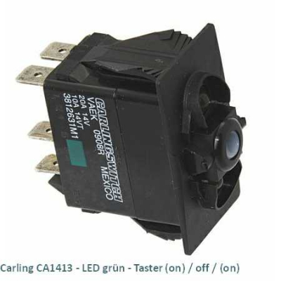 Carling CA1413 LED grün - Taster (on)/off/(on)