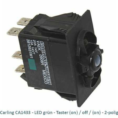 Carling CA1433 LED grün - Taster (on)/off/(on) 2-polig