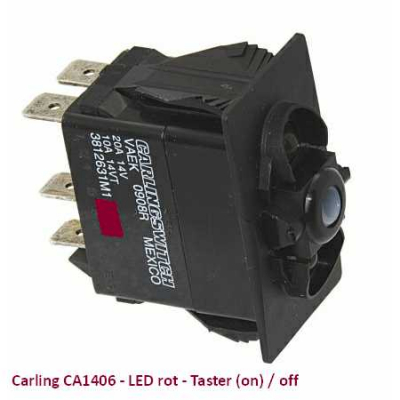 Carling CA1406 LED rot - Taster (on)/off