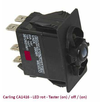 Carling CA1416 LED rot - Taster (on)/off/(on)