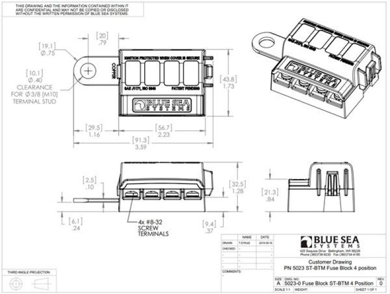 BlueSea 5023 - Flachsicherungshalter für die Batterieklemme ...