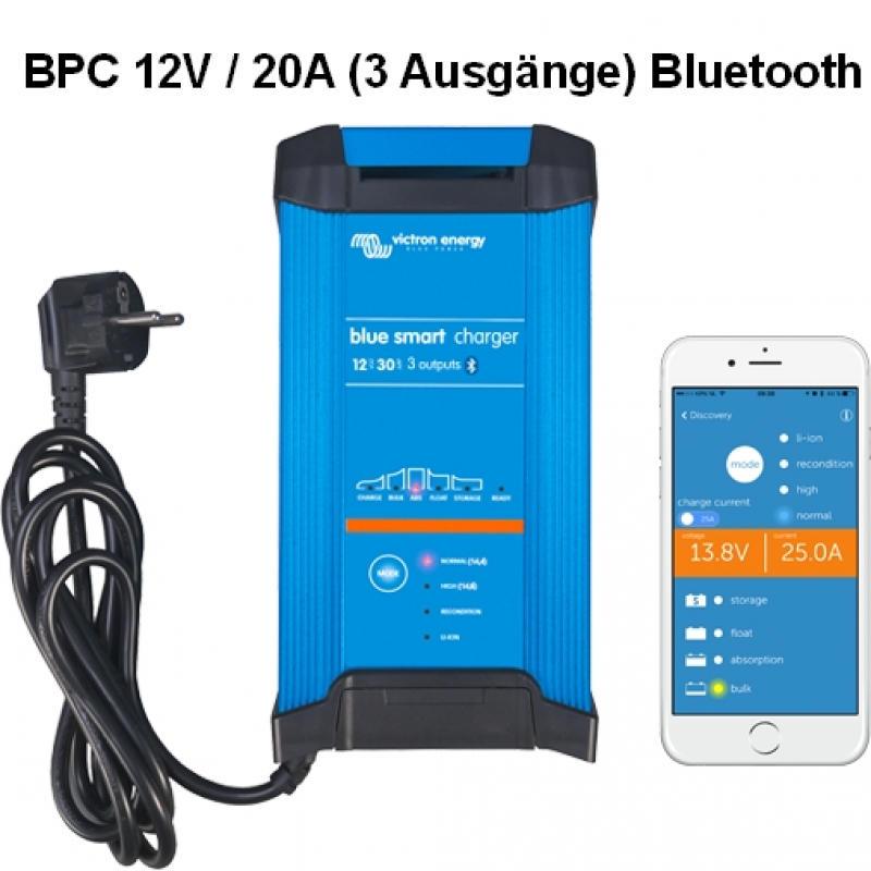 Victron Blue Smart IP22 Charger 12/20(3) Schuko