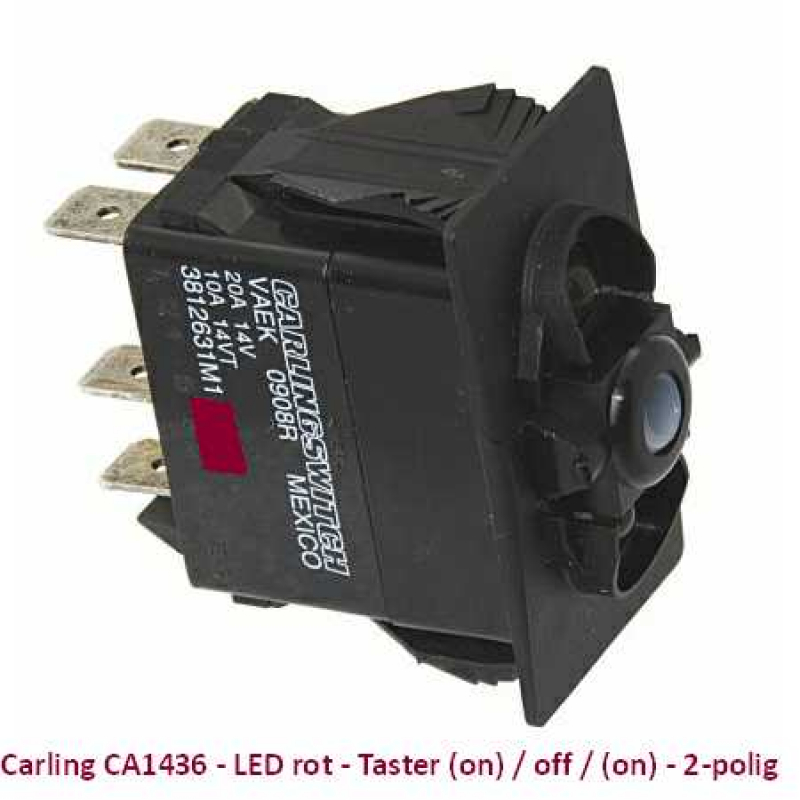 Carling CA1436 LED rot - Taster (on)/off/(on) 2-polig